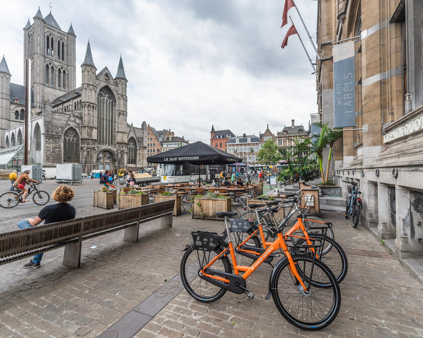 Orange bikes of Donkey Republic in the city centre