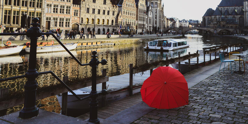Heart shaped red umbrella in the city of Ghent