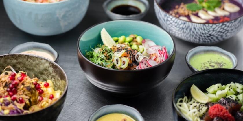 Colourful bowls with food