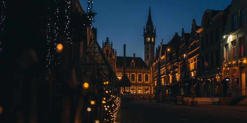 kerstverlichting in centrum gent