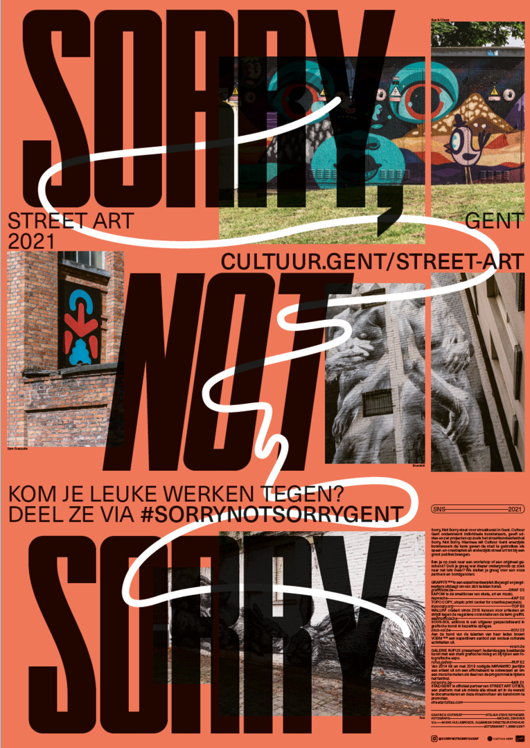 Cover van het Sorry Not Sorry street art plan Gent