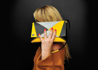 Yellow-black handbag