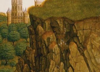 Detail van de rotsen op het Lam Gods