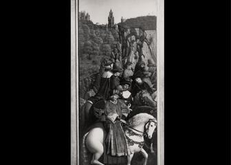 foto van het origineel paneel van de Rechtvaardige Rechters