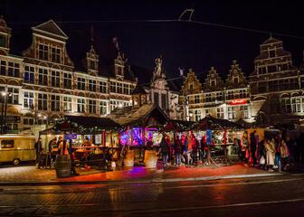 Sint-Veerleplein Gent in kerstsfeer