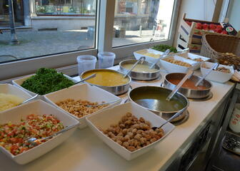 Different soups every day with toppings of your choice