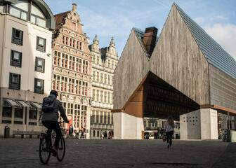 Modern architecture of the city pavilion in Ghent