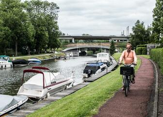 Cyclist along the marina